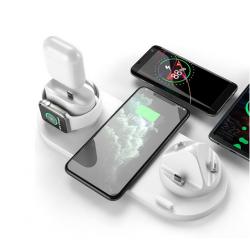 6 i 1 opladning dock station til iPhone 12 Pro Max 11 Xs Max 8 Plus hurtig opladningsplade til earpod